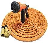 KDGWD Pistola de RiegoTubo de manguera de jardín ligero expansible se expande hasta 3x de longitud en uso y contratos hacia atrás para el almacenamiento multifuncional pistola de agua de alta presión pistola 50 FT (naranja)