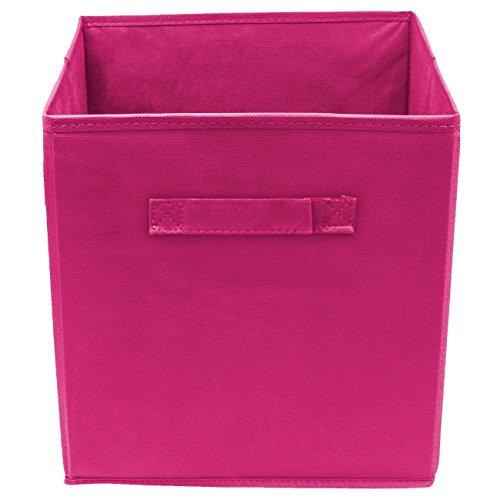 Viemode Stoff Aufbewahrungsbox Cube klappbar, Aufbewahrungsbox, Bequem Aufbewahrungsbox (28x27x27cm(6 Stück), Rosenrot)