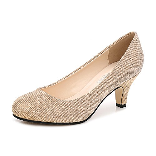 Damen Pumps Rund Kitten Heel Kleid Business Party Gold Glanz Asiatisch 42/EU 41 (Kleid Kitten Schuhe Heel)