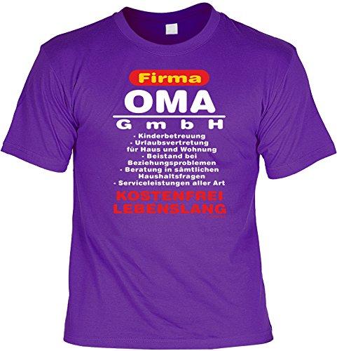 T-Shirt lila violett Größen S- XXL Funshirt mit coolem Aufdruck Firma Oma GmbH lustige Geschenkidee Violett