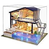 Hakeeta Casa delle Bambole in Legno di Design Fai-da-Te, con luci + Piscina, Miniatura con Tutti i mobili, Villa delle Bambole, Gioco di decompressione (con/Senza parapolvere) (con Parapolvere)