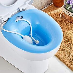 Sitz-Bidetbad Bidetwith Flusher Over-The-Toilet Perinealbad für hämorrhoidale Entlastung, für Schwangere, für ältere Menschen, ideal für Patienten nach einer Episiotomie,Blue