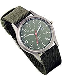 Lancardo Analog Quartz Watch With Woven Nylon Band Luminous Hand Military Time 24H (Army Green)