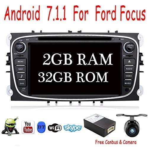 Android 7.1 Quad Core 2G + 32G 17.8cm Double Din GPS Stereo for navigation navigation for Ford Focus Mondeo Support Mirror Link Bluetooth Wifi 4G OBD DAB SD RDS for FREE CANBUS & Camera Color Black