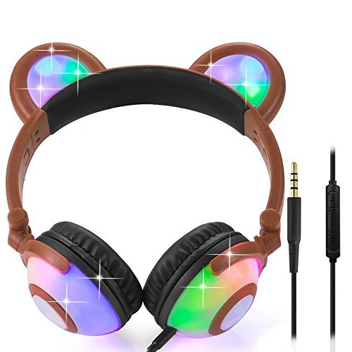 Wired Bear Ear Headphones with Glowing Lights and Mic (Brown) 51qF9GP8UML