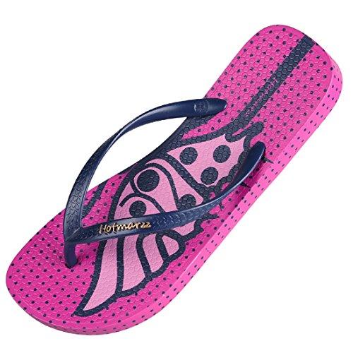 Hotmarzz Tongs Sandales Femmes ete Plage Papillon Animaux Piscine Chausson Flip Flops Rose rouge