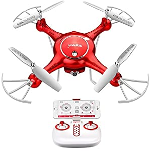 SYMA X5UW 720P HD Camera FPV Real-time Wifi Gravity Control RC RTF Quadcopter with Altitude Hold, Headless Mode, Flight Plan, 360 Rolls(Red) from YiYunTE