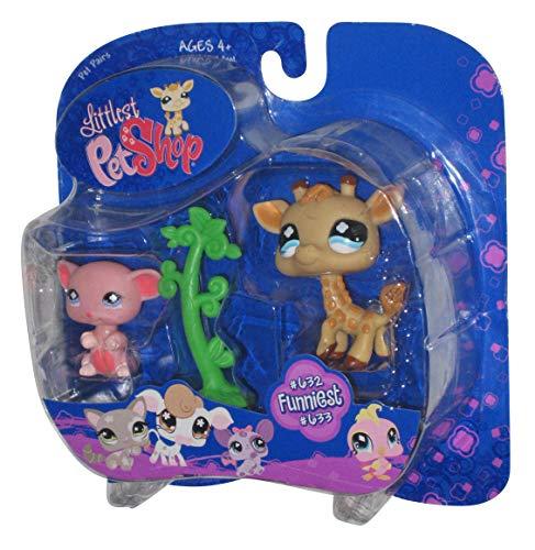 Littlest Pet Shop - Pet Pairs - Funniest - Giraffe #632 & rosa Maus sitzend #633 - mit Baum - OVP