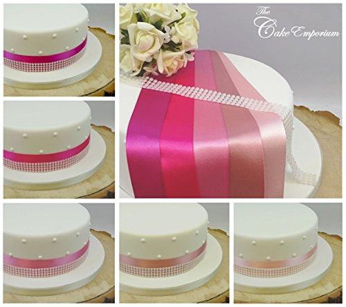 Ruban satiné 1 metre X 35 mm et 4 rangs Perle Garniture Décoration de gâteaux gâteau de mariage Coupez Nuances de rose vieux rose