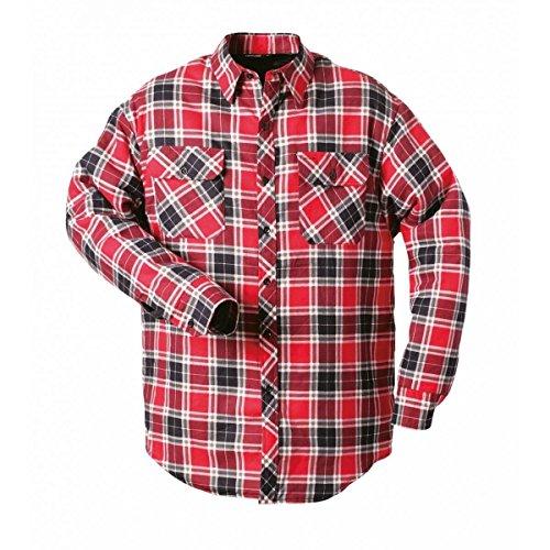 CRAFTLAND Ontario Thermohemden ★ Blau | Grau | Rot | Kariert | 100% Baumwolle | Pflegeleicht | Strapazierfähig | Brusttasche ✔ Gefüttert ✔ Durchgehende Knopfleiste (M, Rot-Kariert)