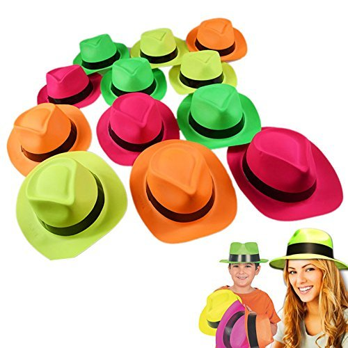 German Trendseller® - 6 x Neon Party - Hüte ┃ -NEU- ┃ Farb - Mix ┃ Gangster ┃ Karneval ┃ Party Knaller ┃ 6 Stück (Regenschirm Hut Kostüm)
