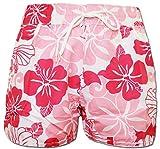 A-Express Rosa Damen Badeshorts Sommer Blumen Shorts Surfen Blumenmuster Strand Hose Größe 44 (L)