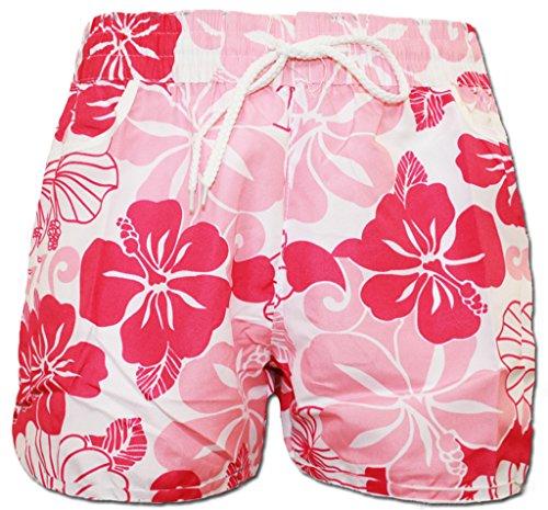 A-Express Rosa Damen Badeshorts Sommer Blumen Shorts Surfen Blumenmuster Strand Hose Größe 42 (L)