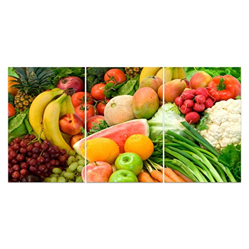 UNIQUEBELLA Print on canvas 3 pieces Large 130x60 (NO FRAME,UNMOUNTED) Wall art Pictures Poster Print painting for Home decoration Vegetables and fruits