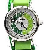 Kids/Boys/Girls Green Time Tutor/Teacher Velcro Watch QBD