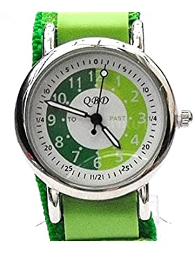 Jungen/Mädchen Armbanduhr grün Klettverschluss watch-qbd