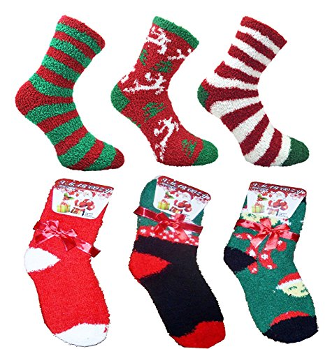 Ladies 6 pack Fluffy Christmas Co-Zees Socks with Gift Bow