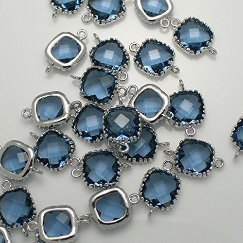 4Stück von Montana Blue Square gerahmt Glas Bazel Glas silber Original rhodiniert über Messing Perlen Anhänger Stecker für Ohrring Ergebnisse Schmuck-Herstellung –, Braut Schmuck-Herstellung (Montana Silber Ohrringe)
