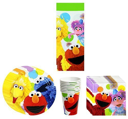 Elmo Sesame Street Birthday Party Supplies Pack Bundle Kit Including Plates, Cups, Napkins and Tablecover - 8 Guests by Sesame ()
