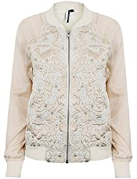 Topshop Women's Daisy Embroidered Textured Ivory Gold Bomber Jacket RRP £65 Sizes 4-16