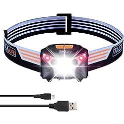 Linterna Frontal LED TACKLIFE-LLH2A-USB recargable con sensor de apertura sin manos, 6 modos de luz, Linterna cabeza impermeable para Camping/Pesca/Ciclismo/Carrera/Caza