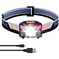 Lampe Frontale à Induction Tacklife LLH2A /Plage d'Induction 15 cm /130 Lumens 100 m /6 Modes /Léger 78g /Batterie au Lithium Rechargeable 1020mah /IPX4 /avec Câble USB