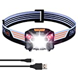 LED Headlamp, Tacklife LLH2A Rechargeable LED Head Torch, with induction modes LED Torch light, 6 Modes, White & Red LEDs, Water Resistant, USB Cable include for Running, Camping(Battery include)