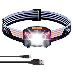 TACKLIFE Stirnlampe USB, Kopflampe, Sensorsteuerung Kopfleuchte, Stirnlampe LED Wiederaufladbare, Wasserdicht Leichtgewichts Headlamp