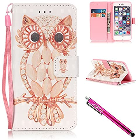 iPhone 5S Case, iPhone 5 Wallet Case, Firefish Kickstand Flip [Card Slots] Wallet Cover Double Layer Bumper Shell with Magnetic Closure Strap Case for Apple iPhone 5/5S/SE-Owl