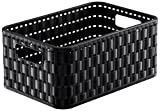 Rotho 1165508080 Aufbewahrungskiste Dekobox Country in Rattan-Optik aus Kunststoff (PP), Inhalt circa 4 L, Format A6+, circa 23,7 x 15,8 x 10,8 cm, schwarz