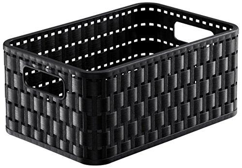Rotho 1165508080 Aufbewahrungskiste Dekobox Country in Rattan-Optik aus Kunststoff (PP), Inhalt Circa 4 L, Format A6+, Circa 23,7 x 15,8 x 10,8 cm, Schwarz (Rattan Aufbewahrungsboxen)