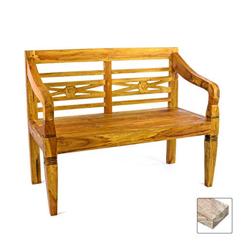 DIVERO 2-Sitzer antike Gartenbank 115 cm massiv Teak-Holz Handarbeit 2 Personen Bank mit...