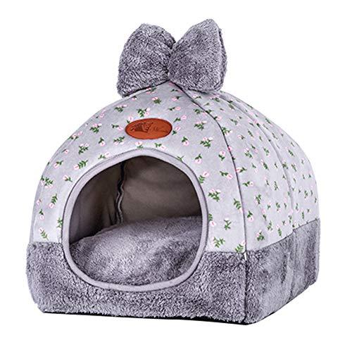 Deen cuccia per gatti a igloo, 2 in 1, pieghevole, accogliente, autoriscaldante, con morbido cuscino rimovibile per gatti, conigli, cani di piccola taglia