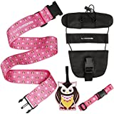 Bundle Monster 4 pc Luggage Strap Bungee ID Tag Travel Accessories - Owl Set
