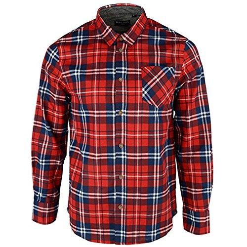 Brave soul, camicia a quadri jackd di marca, in cotone chambray, da uomo albert red medium