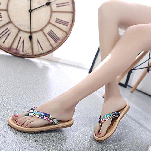 Transer® Damen Retro Sandalen Baumwollmischung+Schaumstoff Sommer Casual Schuh Strand Sandelholz (Bitte eine Nummer größer bestellen. Vielen Dank!) Blau
