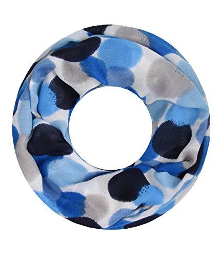 Majea NEUE Saison Damen Loop Schal viele Farben Muster Schlauchschal Halstuch in aktuellen Trendfarben (blau 25)