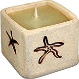 Guru-Shop Keramikdose & Kerze (viereckig), Wachsfarbe: Orange, Kerzenhalter