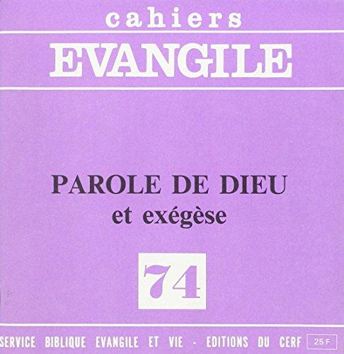 Parole de Dieu et Exegese (Coll.), No 74 par Collectif