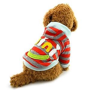 Ranphy Petit Chien Vêtements pour mâle femelle Mini Smile Patch rayé Sweat shirt Pull en laine polaire d'hiver