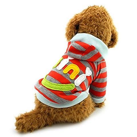 Ranphy Petit Chien Vêtements pour mâle femelle Mini Smile Patch rayé Sweat shirt Pull en laine polaire d