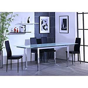 MAX Table extensible 140/220 chrome + verre blanc
