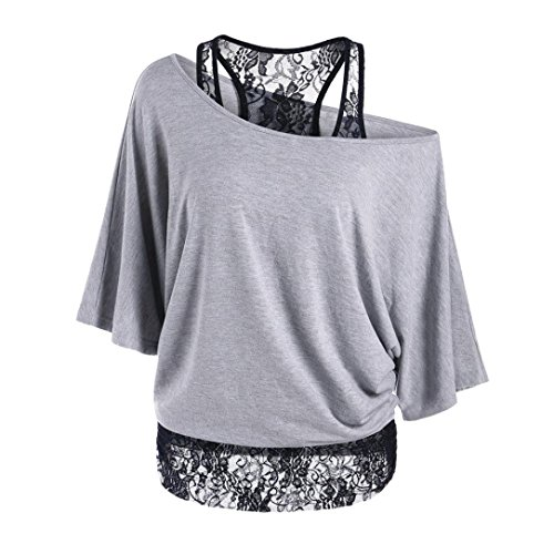 HARRYSTORE Frauen Casual Loose Bluse Plus Size Lace Splicing ein Schulter Tops T-Shirt (XX-Large, Grau) (Gerippte Jeans Bestickte)