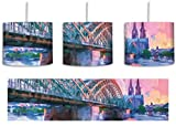 schöne Hohenzollern Brücke mit Kölner Dom inkl. Lampenfassung E27, Lampe mit Motivdruck, tolle Deckenlampe, Hängelampe, Pendelleuchte - Durchmesser 30cm - Dekoration mit Licht ideal für Wohnzimmer, Kinderzimmer, Schlafzimmer