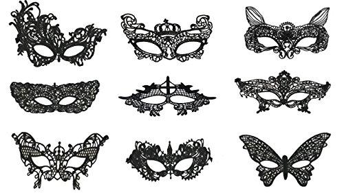 Packung mit 8/9/12 Schwarz Weiß Venetian Atemberaubende Maskerade Lace Eye Maske Kostümfest Sexy mysteriöse Spitzenmaske Karneval Halloween Unisex (Packung mit 9 Spitzen Augenmaske 5) (Maskerade Maske Lace)