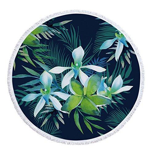 Gedruckte runde Strandtuch Yogamatte Tropische Blätter Serie -02 150 * 150cm