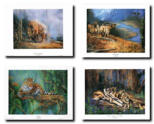 Impact-Poster Galerie Indianer Bison Wanddeko, Grauer Wolf, Berg, Tier, Nordwest-Bild, 48 x 28 cm, 4 Stück -