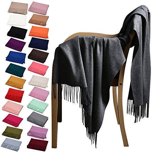 Wocharm Womens New Winter Warm Casual Scarf Solid Pashmina Tassel Style Stoles