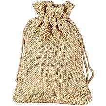 24pcs(9.5*13.5cm) Bolsa Lino Yute Arpillera Boda Fiesta Artesanía DIY Regalo Caramelos Joyas Dulces Recuerdos Marrón con Cordón de Cierre