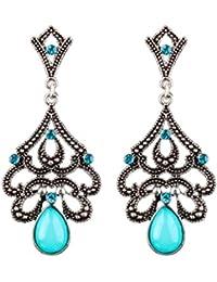 MagiDeal Pendientes de Vintage Estilo Bohemia Artificial Gemstone Crystal Joya de Moda de Mujeres